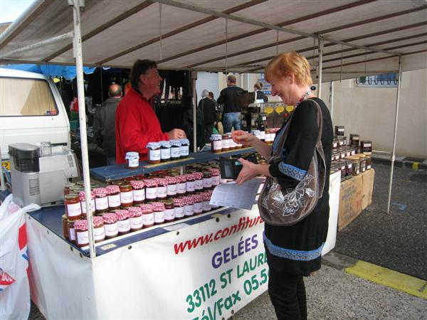 Lacanau, France - Mary buying Sauterne Jelly
