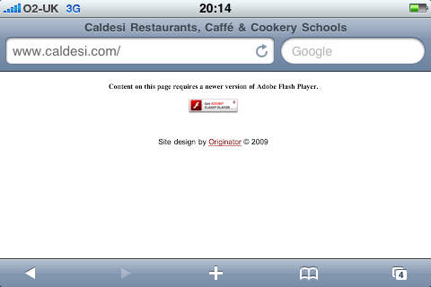 www.caldesi.com screen shot 21-July-2009