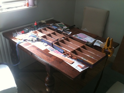 cutlery tray - gluing the dividers