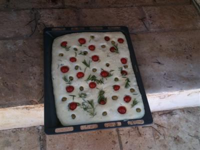 Mary's home made foccacia ready to go it the oven
