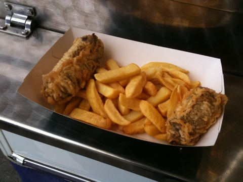Deep fried haggis and chips