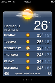 Hermanus 7 day forecast - sun and 26 C