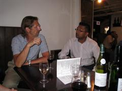 John and Bhav in the Crusting Pipe wine bar