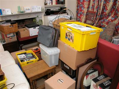 Living room full of packing boxes