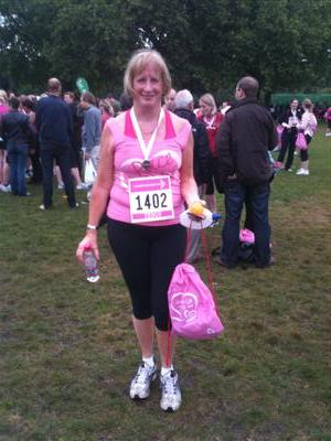 Mary at Race for Life, Battersea Park 2011
