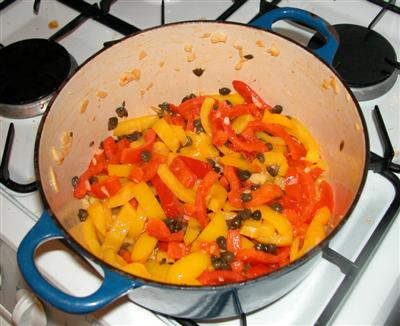 Fried Peppers with Garlic, Capers and Vinegar