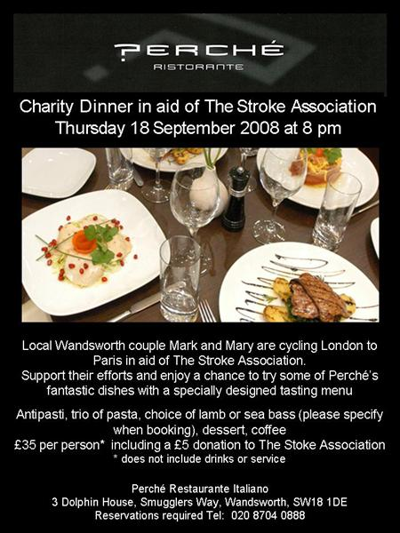 flyer for Charity Dinner in aid of The Stroke Association