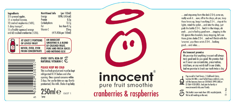 innocent smoothie label