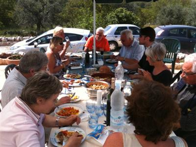Friends and neighbours round for lunch