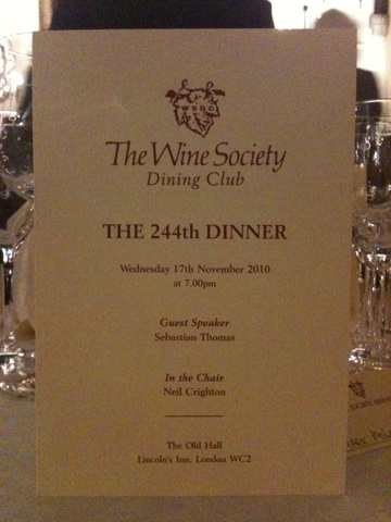 Wine Society Dining Club 244th dinner